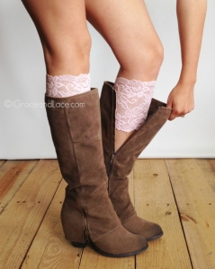 Pink Lace Boot Cuffs for the days when you just gotta be charming!
